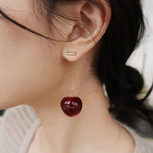 Cherie cherry earrings dark red and gold
